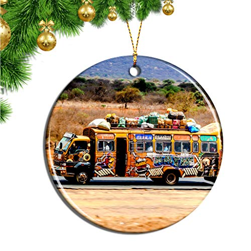 Hqiyaols Ornament Massai-Dorf Kenia Weihnachten Ornamente Hängende Verzierung Keramik Souvenir Stadt Reise Geschenk Baum Tür Fenster Decke Zierschmuck Deko