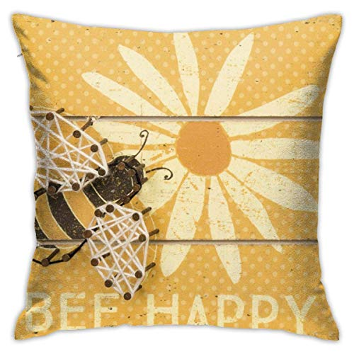 Rustic Bee Happy Sunflower Throw Pillow Covers Decorative 18x18 Inch Pillowcase Square Cushion Cases for Home Sofa Bedroom Livingroom
