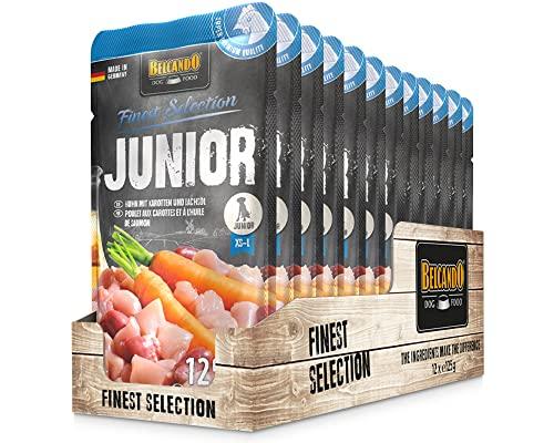Belcando Junior [12 x 125g Huhn mit Karotten] |Nassfutter für Hunde |Alleinfutter im EInzelportionsbeutel für Hunde