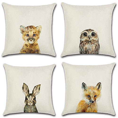 HuifengS Linen Throw Cushion Pillow Covers Square Pillowcase Animal Decorative for Sofas Beds Chairs Cushion Cover Set of 4, 18 x 18 Inch