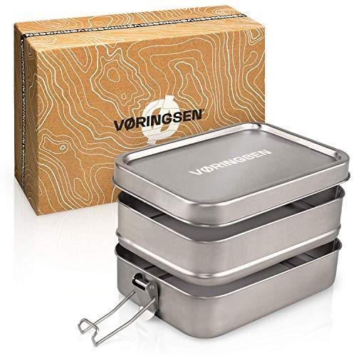 VØRINGSEN® Premium XL Brotdose Edelstahl – 1670ml – Auslaufsichere Edelstahl Brotdose mit skandinavischem Design – Zweistöckige Lunchbox Edelstahl