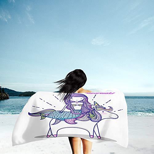Surwin Grande Toalla de Playa de Microfibra Toalla 3D Animal Cartoons Impresión de Secado Rápido Súper Absorbente Natación Toalla de Arena Antiadherente para Playa (Sirena 1,70x150cm)