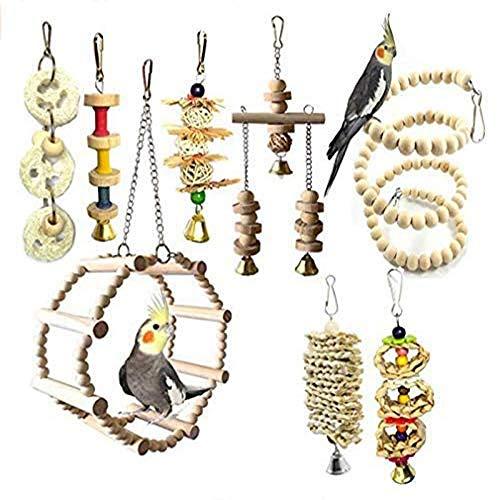 CHAWHO Vogelspielzeug 8 Stück Papagei Spielzeug - Papageien Spielzeug Kauspielzeug aus Naturholz mit Glöckchen, Schaukel, Hängematte, Vogel Spielzeug für Papageien, Nymphensittich und mittelgroße