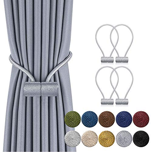 DCLYSI 4 Pack Magnetic Curtain Tiebacks,16 Inch Decorative Curtain Holdbacks for Window Décor