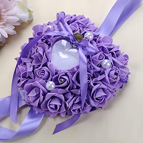 Estilo de ramo de joyas, caja para colgar anillos, con brillantes y cuentas, para boda, propuesta de compromiso