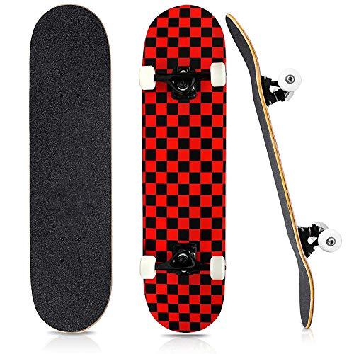 HUADUO Komplettes Skateboard, Anfänger Skateboard Standard Double Kick Klassische Karierte Serie Mehrfarbig für Erwachsene, Kinder und Jugendliche-Schwarzes und rotes Gitter