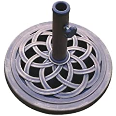 """Cast stone , Bronze color , Rust free composite materials The base comes with plastic inserts that allow for a 1"""" or a 1 1/2"""" pole. Without the plastic inserts it will hold a 2"""" pole. Ship 1 by ground-Fed-ex 18 inch diameter"""