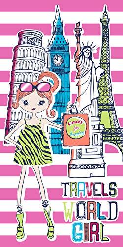 Secaneta Toalla Playa Niña Infantil de 75x150 cm, Tejido Velour Algodón 100%, World Girl, Multicolor, 75 x 150 cm ⭐