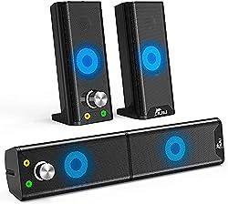 Design compact et détachable : le design amovible vous offre deux choix différents lors de l'utilisation du haut-parleur. Le haut-parleur peut être utilisé à la fois comme haut-parleurs séparés (posé de chaque côté de votre écran) ou comme barre de s...