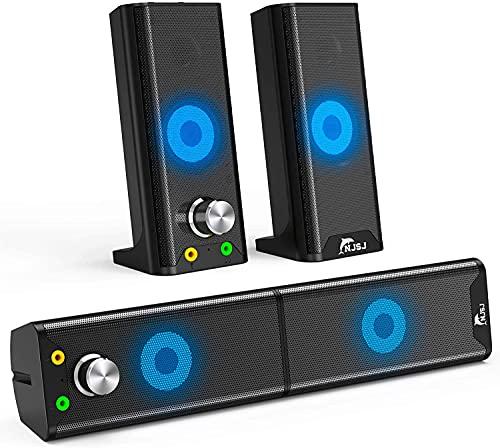 Altavoces PC Sobremesa, 6W Altavoz Barra de Sonido de Alimentado por USB 3.5mm Ordenador con Sistema Estéreo 2.0 Canales con de Luz LED para Escritorio, Ordenador Portátil, Móvil,MP4