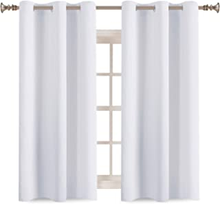 2 Panels Solid Room Darkening Drapes Pure White Themal Insulated Grommet/Eyelet Top Nursery & Infant Care Curtains Each Panel 42