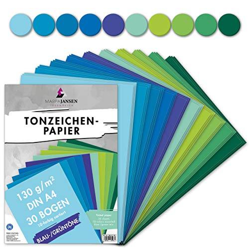 MarpaJansen Tonzeichenpapier 10 Blau/Grünton Farben, DIN A4, 30 Bogen, 130 g/m², Blauer Engel zertifiziert