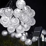 Guirnaldas Luces Exterior Solar, COOLAPA 8M Cadena de Luces Multicolor con 50 LED Bola, USB Recargable Luces Navidad Solar para Decoración, Exterior, Hogar, Jardín, Arboles, Patio, Fiesta (blanco)