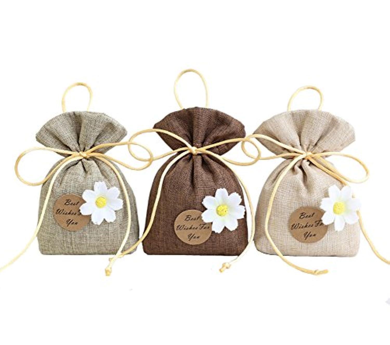 TooGet Elegant Sachet Bags Premium Cotton and Linen Bags Reusable Muslin Bags Favor Gift Bags for DIY Craft Herbs Tea Potpourris Sachets, 4x6 inch - 12 Pack