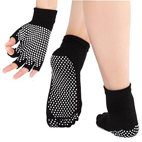 JJunLiM - Calcetines y Guantes de Yoga para Mujer con Puntos de sillicona Antideslizantes, Calcetines de Ballet de Danza Antideslizantes para Yoga, Pilates, Fitness, Calcetines de Mujer