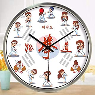 Imoerjia Taekwondo Martial Museum Watch Children's Cartoons Creative Decoration Living Room Wall Clock Mute Quartz Clock, 12 Inch,03