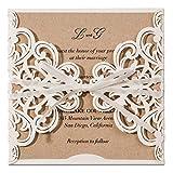 Jofanza Einladungskarten Für Hochzeit Geburtstag Taufe Party Elfenbeinenfarbe Borte Lasercut