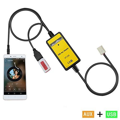 Auxillary Adapter,Yomikoo Car Radio MP3 WMA USB Music Adapter Auxiliary Audio Interface for Auris 2007-2011, Avensis 2003-2011, Corolla 2005-2011, Tacoma 2004-2008