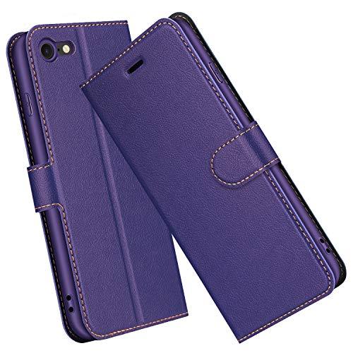 ELESNOW Hülle für iPhone SE 2020 / iPhone 7 / iPhone 8, Premium Leder Flip Schutzhülle Tasche Handyhülle mit [ Magnetverschluss, Kartenfach, Standfunktion ] für Apple iPhone SE 2020/7 / 8 (Lila)