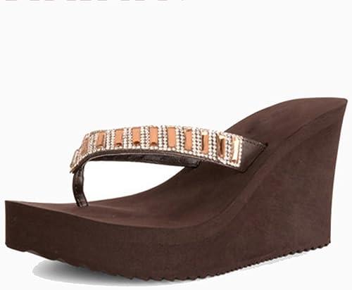 Sandals NAN Haute Talons Mode Usure Coins Pantoufles Nouveau Toe Pantoufles Femmes en Plein Air épais Pantoufles Noir Brun (Couleur   Marron, Taille   EU39 UK6 CN39)