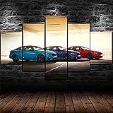 GMSM Cuadros Modernos Impresión de Imagen Artística Digitalizada | Lienzo Decorativo para Tu Salón o Dormitorio | BMW M4 Colores Coches Deportivos | 5 Piezas 150x80cm