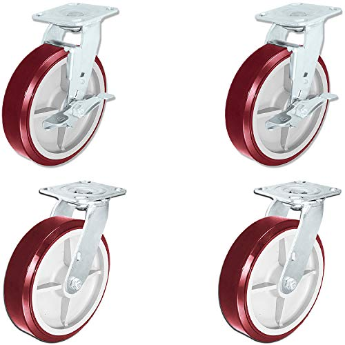 """CasterHQ - Heavy Duty Polyurethane Swivel Casters with Brake, 8"""" x 2"""" Size (Pack of 4)"""