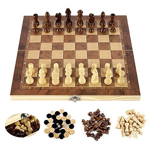 THQC Holz International Chess Set 3 in 1 aus Holz Schach Brettspiele Checkers Puzzle-Spiel beschäftigt Geburtstagsgeschenk for Kinder (Farbe : Wooden 29x29cm)