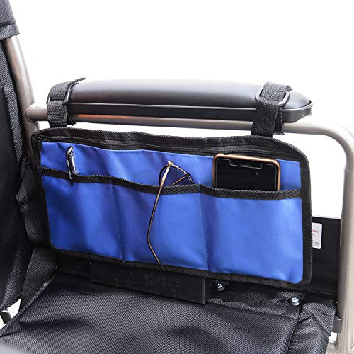 Bolsa De Almacenamiento para Silla De Ruedas, Bolsa De Transporte para Accesorios De Silla De Ruedas, Silla de Movilidad Lateral, Ayuda para Personas Mayores, reposabrazos para Colgar (blue)