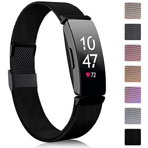 Faliogo Kompatibel für Fitbit Inspire Armband/Fitbit Inspire 2 Armband/Fitbit Inspire HR Armband, Metall Edelstahl Ersatzarmband mit Magnetverschluss Kompatibel mit Ace 2, Damen Klein, Schwarz