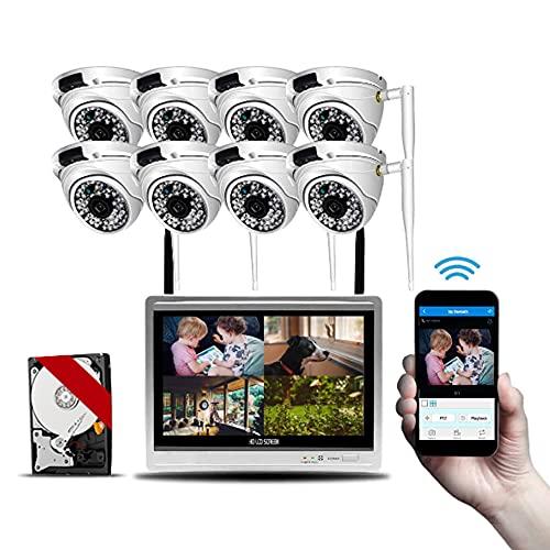 WF Sistema de cámara CCTV de Seguridad 8 x 1080p Cámaras IP a Prueba de Intemperie Exteriores y NVR con un Disco Duro mecánico de 2TB 65 pies de visión Nocturna