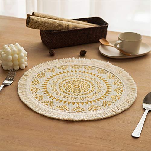 SWECOMZE Set di 2 tovagliette rotonde in cotone mandala con nappa, resistenti al calore, antiscivolo, per tavolo da pranzo, in cotone intrecciato, lavabile (mandala dorato)