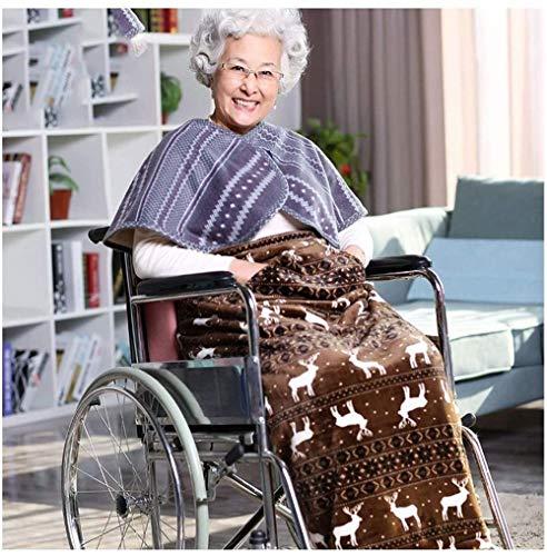 Rollstuhldecke Beindecke Leichte Doppelseitige Samt Kuscheldecke für Rollstühle, Rollstuhldecke mit Zwei Taschen, warme doppelseitige Plüschhülle für Rollstühle, Bein- und Unterkörperhüllen