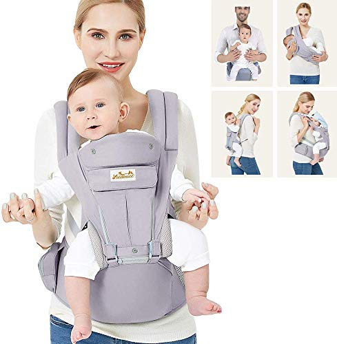 Viedouce Ergonomic Baby Carrier with Detachable Hip Seat Front Back Carry Backpack with Hood Newborn Toddler Child Carrier Lightweight Breathable, Gray