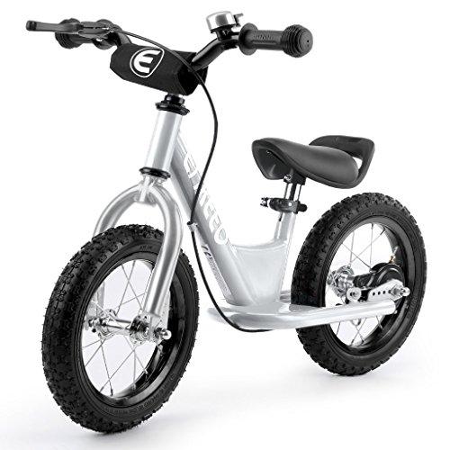 ENKEEO - Bicicleta sin Pedales, Bicicleta de Equilibrio, Entrenamiento Transicional en Bicicleta para lo Niños, Asiento Ajustable y Manillares Tapizados (Plateado 14'')