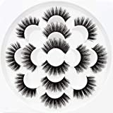 5D Mink False Eyelashes with Glue & Tweezer Dramatic Faux Lashes with Adhensive for Kids Women Ladies & Makeup Artists,7Pack