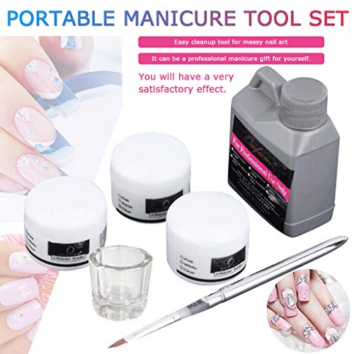 Promisen Portable Nail Art Tool Kit, 120ml Acrylic Liquid for Nail Art Powder Tips, Acrylic Powder(Random), Glass Dish, Nail Art Pen, DIY Deco Manicure Set (Kit)