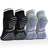 Rahabsox Best Non Slip Skid Yoga Pilates Socks with Grips Cotton for...