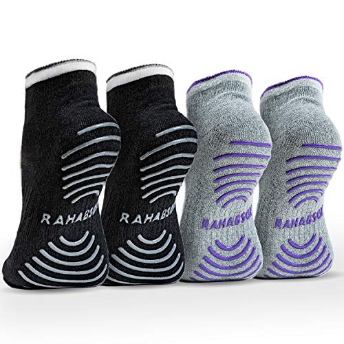 Best Non -Slip Skid Yoga Pilates Socks with Grips Cotton for Women(4 Packs)