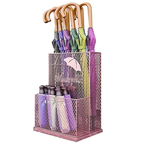 XCZZYC Soporte de Paraguas de Metal con Forma de Malla de Estilo Simple de Moda, diseño Doble, con Bandeja de Goteo extraíble, Almohadilla Antideslizante para el pie, pa