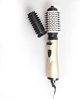 2 in 1 Electric Hot Air Brush Rotation, Hair Dryer with Brush, Quick Hair Styler Comb Curling Iron Volumizer Tool,with Replaceable Brush Head,Gold,EUPlug