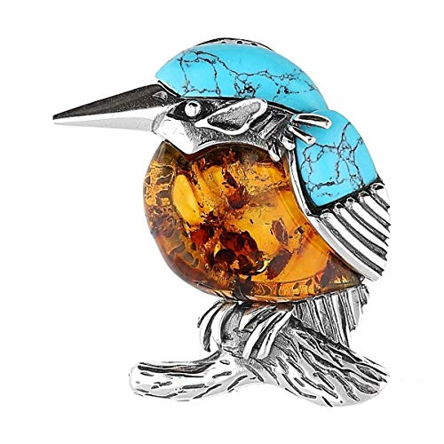 Kingfisher Bird Oxidised Silver Brooch Pin/Clip of Orange Amber & Blue Turquoise in Vintage Style for Women - 925 Sterling Silver