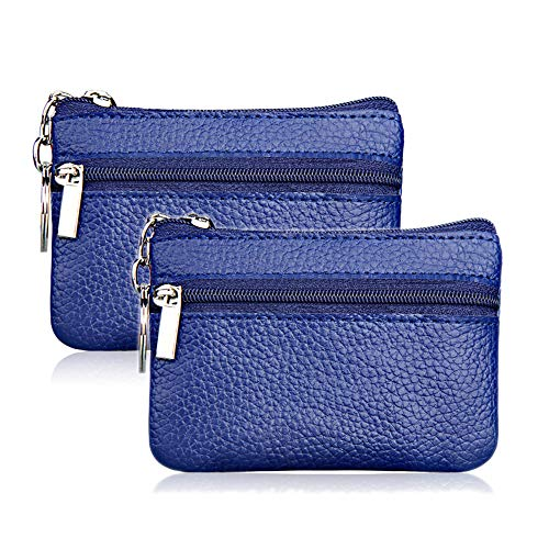 Hibate (2 Pack) Mini Coin Purse Holder Wallet Leather for Women Men Kids Zipper Pouch with Key Ring - Blue