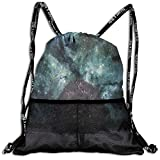 RAINNY Drawstring Backpacks Bags,Outer Space Nebula Galaxy Stars Mars Jupiter with A Tree On A Planet Print,5 Liter Capacity,Adjustable