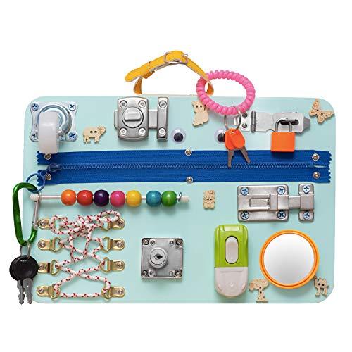 Locks & Latches Board Montessori Green Busy Board Educational Board Writting Board Activity Board Learning Board