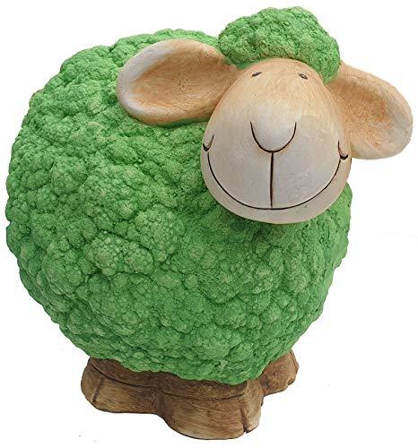 Sell-tex Gartenfigur Schaf, Tierfigur, frostsicher, wetterfest, handbemalte Gartendeko, innen & außen, Keramik, pink, gelb, grün (Grün)