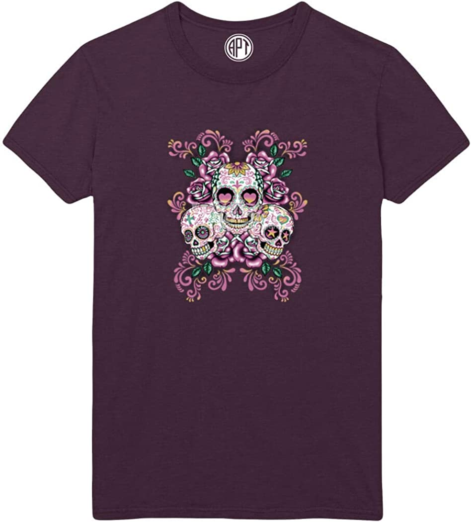 Day of The Dead Sugar Skulls with Floral Printed Printed T-Shirt