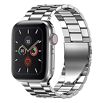 Fitlink Stainless Steel Metal Band for Apple Watch 38/40/42/44mm Replacement Link Bracelet Band Compatible with Apple Watch Series 6 Apple Watch Series 5 Apple Watch Series 1/2/3/4  Silver,38mm/40mm