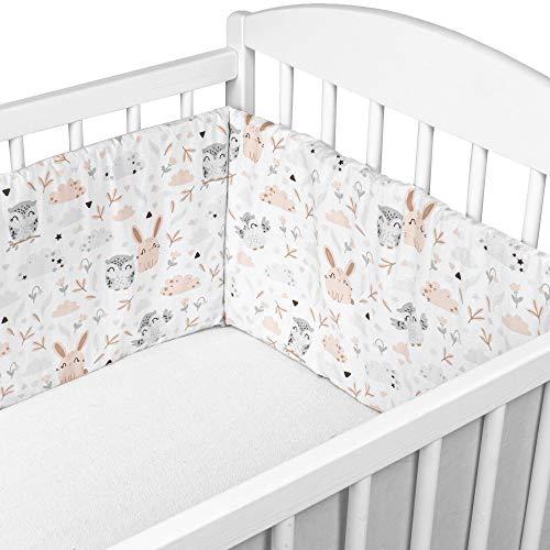 Bettumrandung Nestchen Babybett umrandungen - babybettumrandung Bettnestchen für Kinderbett Beistellbett Gitterbett umrandung (Eulen und graue Baumwolle, 210 x 30 cm)