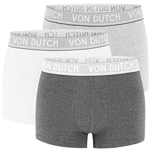 Von Dutch 3er Pack Original Boxer Brief Boxershorts Herren Unterwäsche VD1BCX3ORIGI, Farbe:Lightgrey/Darkgrey/White, Bekleidungsgröße:S