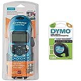 Dymo Letratag Lt-100H Plus Rotuladora Portátil Teclado ABC + Letratag Etiquetas De Plástico, Rollo De 12MmX4 M, Negro sobre Transparente